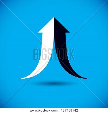 Vector rising arrow. Corporate development logo. Company growth concept.