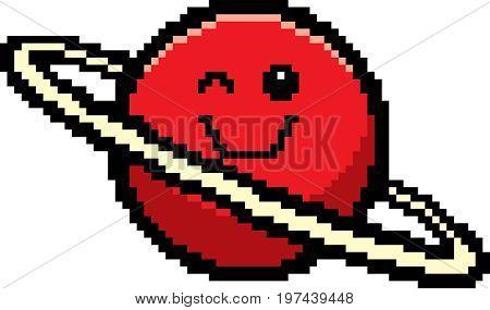 Winking 8-bit Cartoon Planet