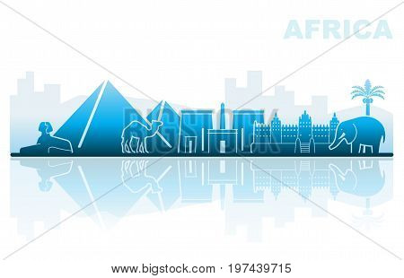 Abstract landscape of architectural landmarks of Africa