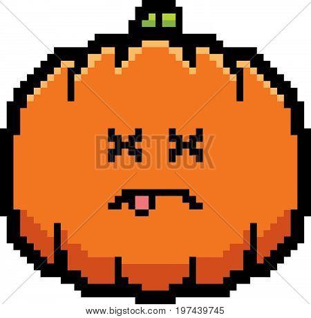 Dead 8-bit Cartoon Pumpkin