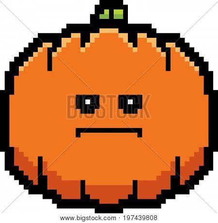 Serious 8-bit Cartoon Pumpkin