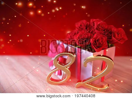 birthday concept with red roses in gift on wooden desk. 3D render - eighty-second birthday. 82nd