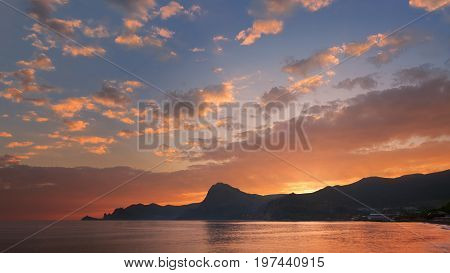 sunset on a background of mountains / Republic of Crimea tourism travel