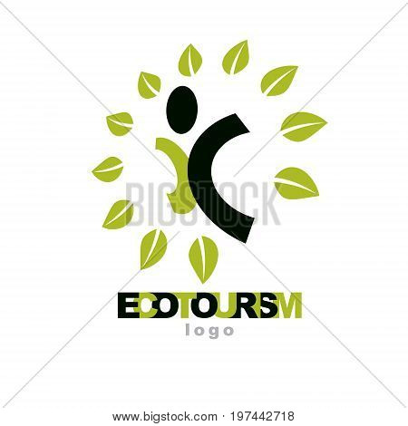 Vector illustration of joyful abstract individual with raised hands up. Ecotourism conceptual logo. Environmental conservation theme logotype. Green tourism symbol.
