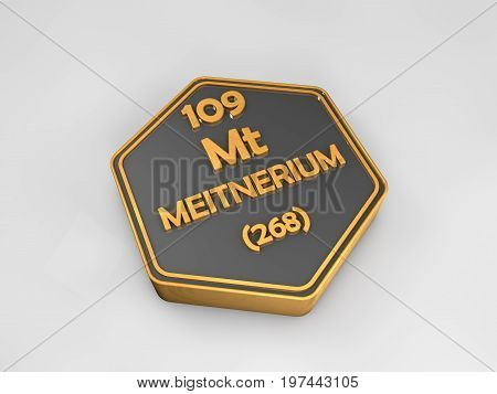 meitnerium - Mt - chemical element periodic table hexagonal shape 3d render