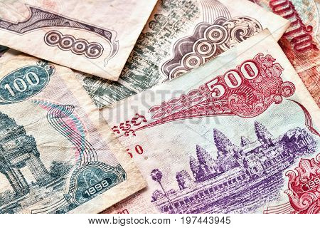 Close Up Picture Of Cambodian Riel Banknotes.