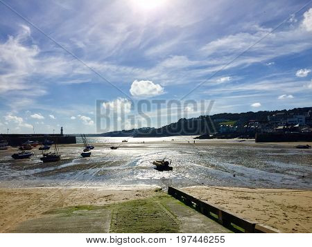 St Ives, Cornwall, harbour at low tide