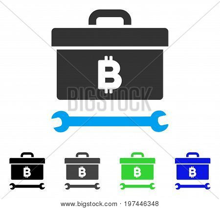 Bitcoin Toolbox flat vector pictogram. Colored bitcoin toolbox gray black blue green pictogram variants. Flat icon style for application design.