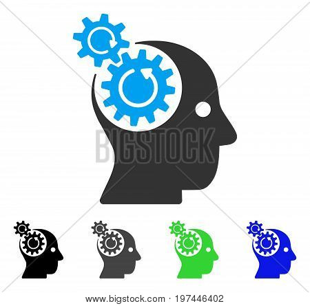 Brain Gears Rotation flat vector illustration. Colored brain gears rotation gray black blue green icon variants. Flat icon style for graphic design.