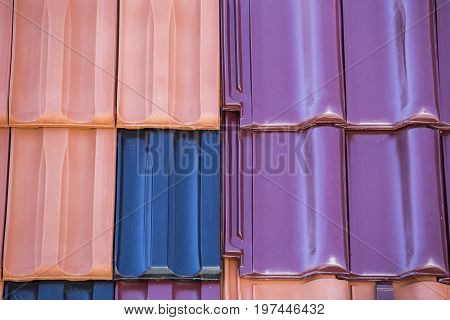 Closeup Of Colored Clay Roof Tiles Background