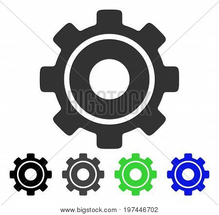 Cog flat vector icon. Colored cog gray black blue green pictogram versions. Flat icon style for application design.