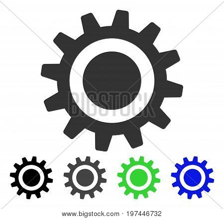 Cog flat vector pictogram. Colored cog gray black blue green pictogram variants. Flat icon style for application design.