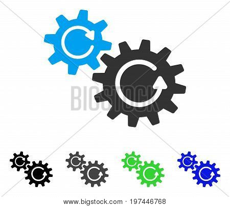 Cogs Rotation flat vector illustration. Colored cogs rotation gray black blue green pictogram variants. Flat icon style for graphic design.