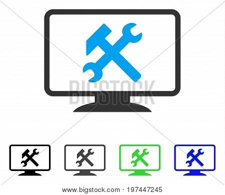 Desktop Settings flat vector pictogram. Colored desktop settings gray black blue green pictogram versions. Flat icon style for web design.
