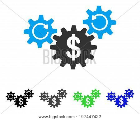 Dollar Wheels Rotation flat vector icon. Colored dollar wheels rotation gray black blue green icon variants. Flat icon style for application design.