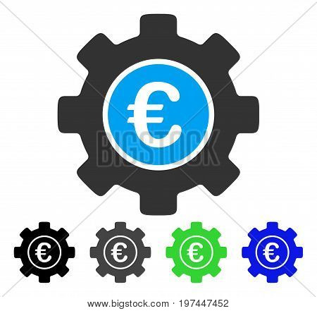 Euro Development Gear flat vector pictogram. Colored euro development gear gray black blue green icon versions. Flat icon style for web design.