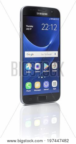 Galati Romania - July 28 2017: Studio shot of a Samsung Galaxy S7 smartphone with 12 MP f 1.7 26mm phase detection autofocus quad-core 26 GHz and 1440 x 2560 pixels Display Resolution.