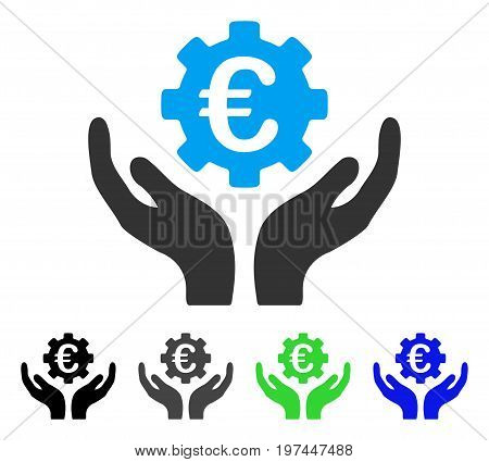 Euro Maintenance Hands flat vector illustration. Colored euro maintenance hands gray black blue green pictogram variants. Flat icon style for web design.
