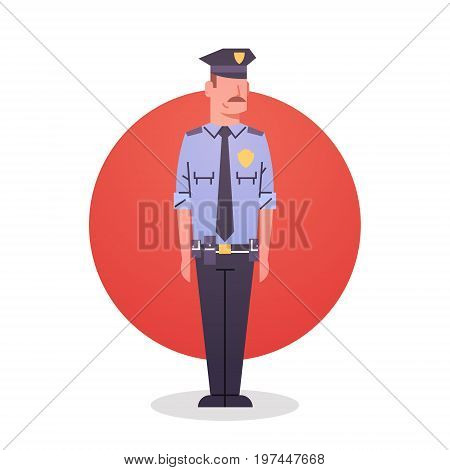 Policeman Icon Male Cop Guard Security Flat Vector Illustration