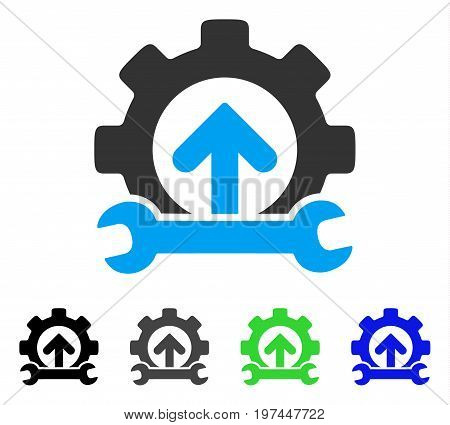 Gear Integration Tools flat vector pictograph. Colored gear integration tools gray, black, blue, green icon variants. Flat icon style for application design.