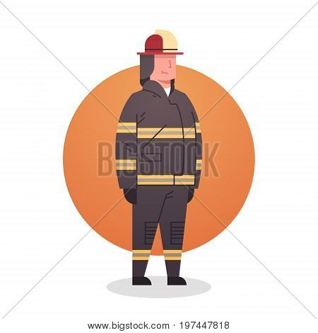 Fireman Icon Fire Fighter Professional Worker Occupation Flat Vector Illustration