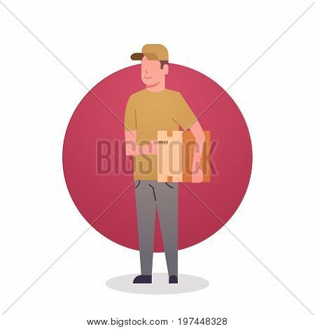 Courier Boy Icon Postal Service Delivery Worker Flat Vector Illustration