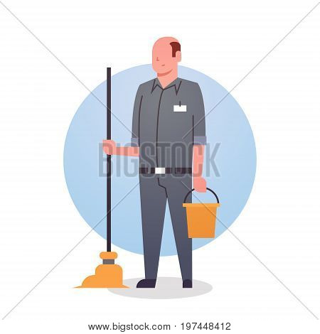 Man Cleaner Icon Cleaning Service Worker Professional Occupation Flat Vector Illustration
