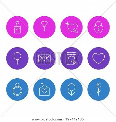 Editable Pack Of Invitation, Valentine, Male And Other Elements.  Vector Illustration Of 12 Amour Icons.