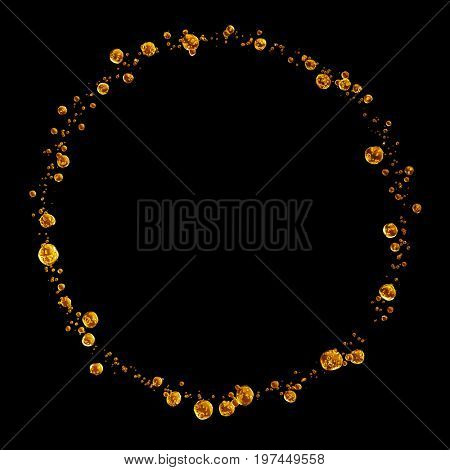 3D detailed illustration of a drop of water gold color. Black background