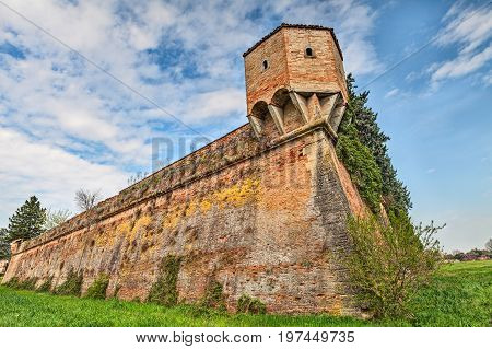 Castrocaro Terme e Terra del Sole, FC, Emilia Romagna, Italy: the medieval city walls with corner turret in the old town