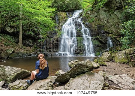Young Woman Viewing Spruce Flats Falls In The Smoky Mountain Tremont Tennessee