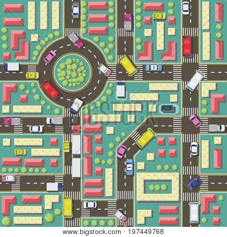 Illustration in the form of a seamless pattern with a city plan and cars, trees