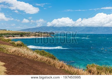 A view of the water at Hookipa Beach Park on Maui Hawaii.