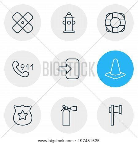 Editable Pack Of Lifesaver, Ax, Door And Other Elements.  Vector Illustration Of 9 Necessity Icons.