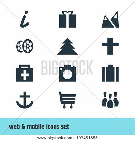 Editable Pack Of Drugstore, Briefcase, Jungle And Other Elements.  Vector Illustration Of 12 Map Icons.