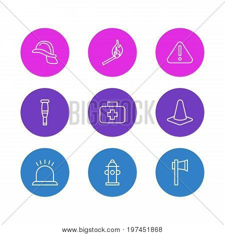 Editable Pack Of Taper, Water, Hardhat And Other Elements.  Vector Illustration Of 9 Emergency Icons.