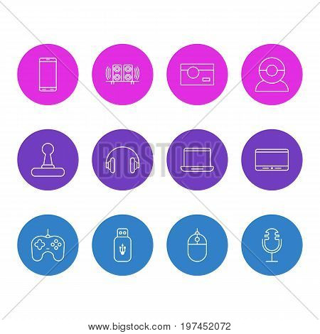 Editable Pack Of Joypad, Usb Card, Smartphone And Other Elements.  Vector Illustration Of 12 Device Icons.
