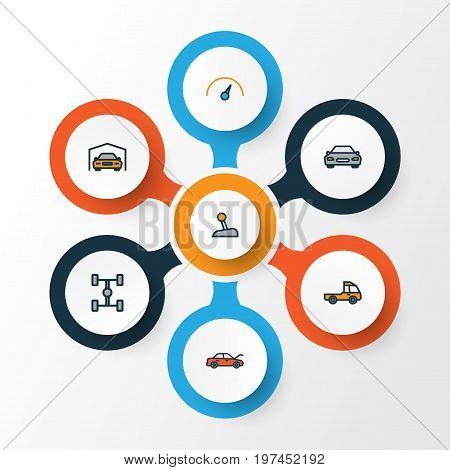 Auto Colorful Outline Icons Set. Collection Of Shed, Automobile, Level And Other Elements