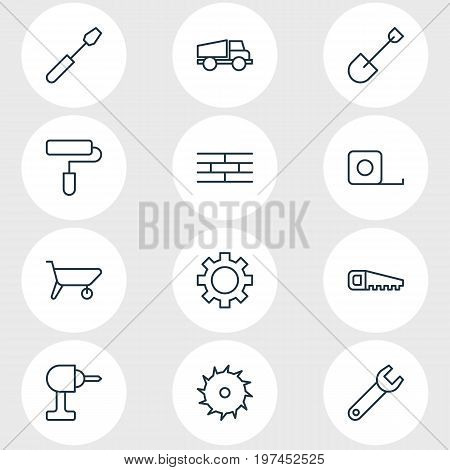 Editable Pack Of Spade, Handcart, Hacksaw Elements.  Vector Illustration Of 12 Structure Icons.