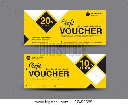 Yellow Gift Voucher template layout business flyer design polygon background coupon ticket Discount card banner vector illustration
