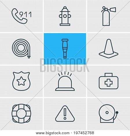 Editable Pack Of Safety, Hotline, Exclamation And Other Elements.  Vector Illustration Of 12 Necessity Icons.
