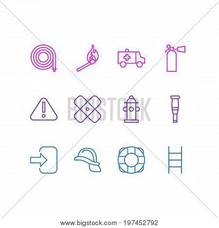 Editable Pack Of Hardhat, Spike, Door And Other Elements.  Vector Illustration Of 12 Necessity Icons.