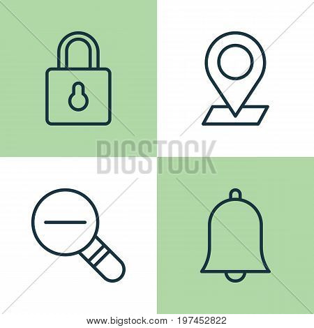 Icons Set. Collection Of Bell, Safeguard, Pinpoint And Other Elements