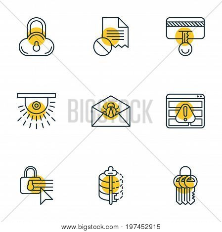 Editable Pack Of Confidentiality Options, Camera, Data Error And Other Elements.  Vector Illustration Of 9 Privacy Icons.