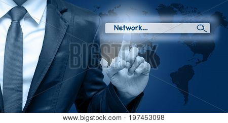 Businessman touching the virtual searching bar with