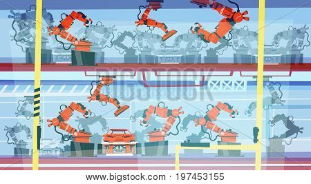 Factory Production Smart Conveyor, Robotic Assembly Line Industrial Automation Industry Flat Vector Illustration