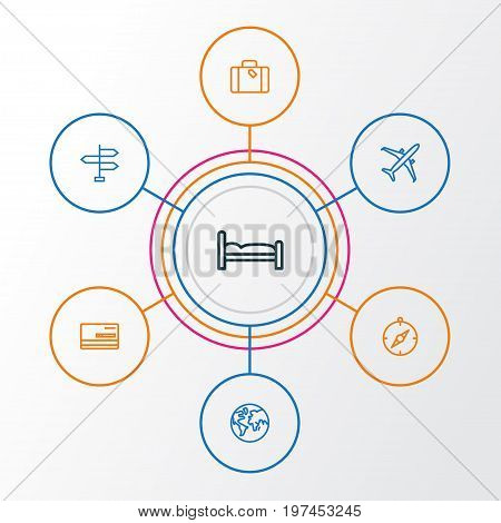 Journey Outline Icons Set. Collection Of Arrows, Plane, Earth And Other Elements