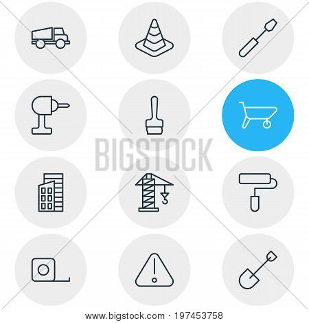 Editable Pack Of Caution, Turn Screw, Measure Tape And Other Elements.  Vector Illustration Of 12 Construction Icons.