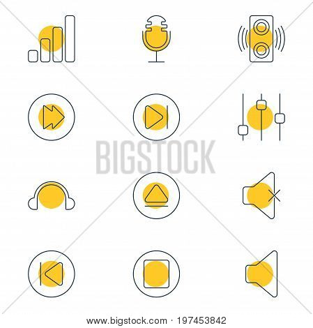 Editable Pack Of Subsequent, Amplifier, Earphone And Other Elements.  Vector Illustration Of 12 Melody Icons.