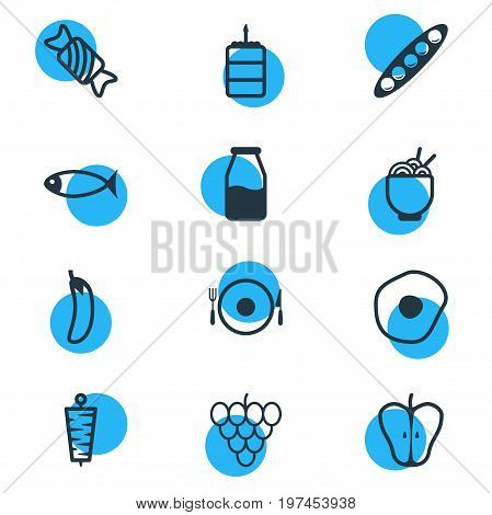 Editable Pack Of Candy, Scrambled Egg, Serving Elements.  Vector Illustration Of 12 Meal Icons.